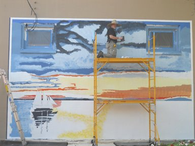 Joel patience paints with passion as mural 3 goes up on for Edmonds mural society