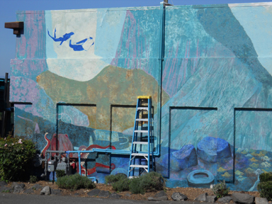 Work to continue on edmonds murals 4 and 5 this weekend for Edmonds mural society