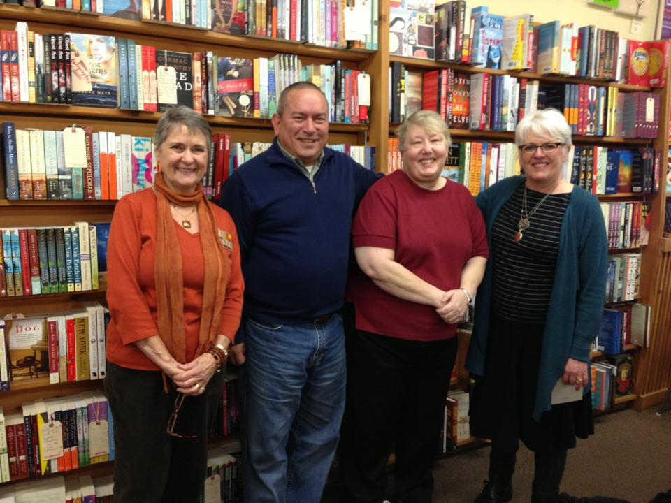 The Edmonds Bookshop celebrated its 40th birthday Saturday. Gathering to mark the occasion, from left, early and current employee Susan Hildebrandt, co-owner David Brewster, original owner Kathy Chapman and co-owner Mary Kay Sneeringer. (Photo courtesy of Edmonds Bookshop)
