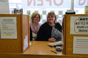 "Stacie Johnson and Kari Heisey continue to operate the Edmonds Auto Licensing Agency in the vacant Petosa's space. ""We want everyone to know that we are here to take care of all your licensing and registration needs,"" said Johnson."