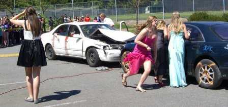 Students are shocked by the scene of a head-on collision during a Mock DUI event.