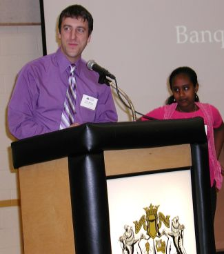 Melat Gebremeskel is introduced by Mountlake Terrace Elementary Principal Doug Johnson.