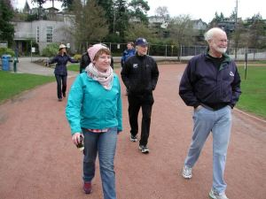 The group walks around Civic Field.
