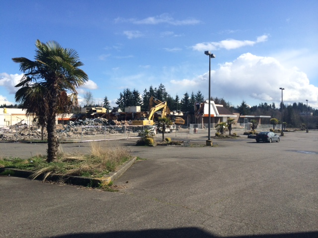 The former Detroit Autoworks building on Highway 99 and 212th Street Southwest was demolished Thursday. According to Lynnwood Economic Development Director David Kleitsch, an automobile dealership has been proposed for the site. The now-demolished building used to be a Safeway store but also served as a Gold's Gym. (Photo by David Carlos)