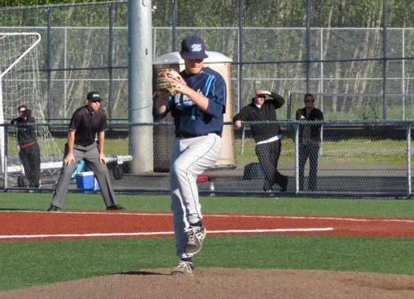Meadowdale's Elliott Reece pitches in the 6th inning in Meadowdales 16-3 win over Mountlake Terrace. (Photos by Marshall Reece)
