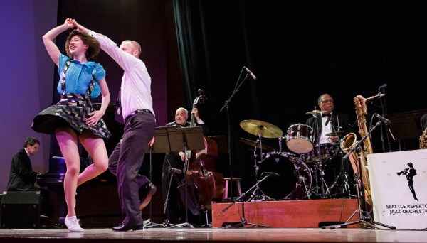 The Seattle Repertory Jazz Orchestra presents The Art of the Jitterbug, featuring four dancers, at Nordstrom Recital Hall.