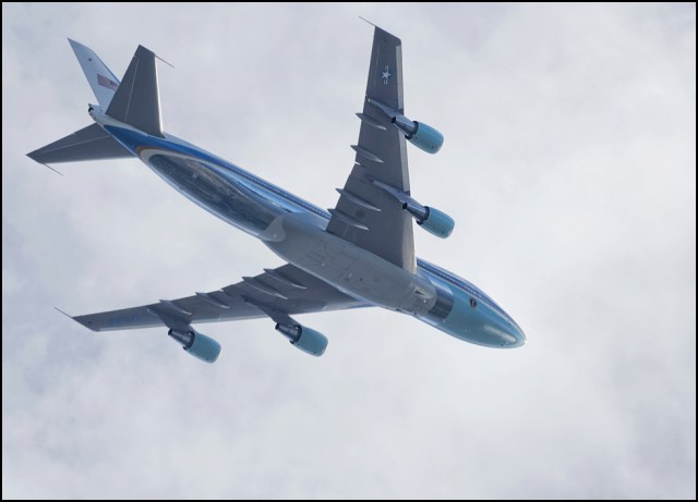 From LeRoy Van Hee: Air Force One flies over Edmonds on its way from Paine Field to Japan Tuesday. President Obama was visiting the area to tour the Oso landslide.