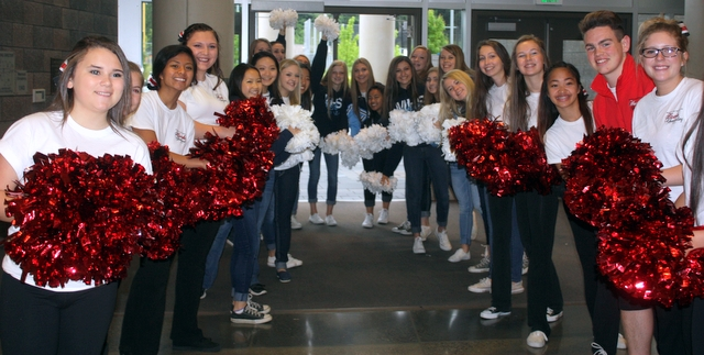 The Mountlake Terrace and Meadowdale cheer squad gave a warm welcome to athletes, coaches and parents.