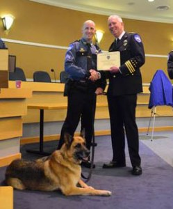 Sgt. Josh McClure and K-9 Officer Dash were honored for their years of service as a team.  Dash, now retired, lives with McClure as a pet.