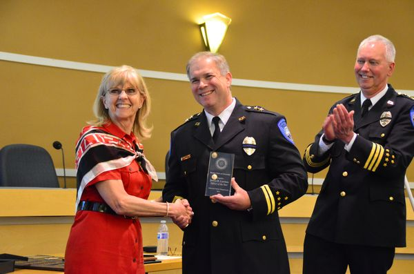 The prestigious Chief David N. Stern Officer of the Year Award went to Assistant Chief Jim Lawless for his years of stellar leadership.  The award was presented by Darlene Stern, widow of Chief Stern, who died in 2007.