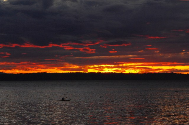 From Tom Dockins: Tuesday's sunset turns Edmonds skies fiery.