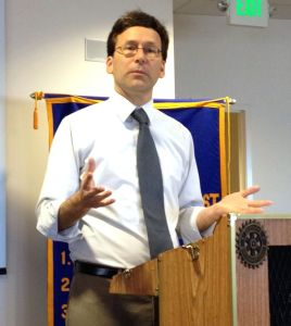 Washington State Attorney General Bob Ferguson speaks to the Edmonds Daybreakers Rotary Club Tuesday.