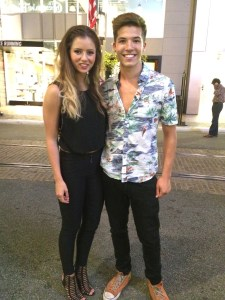 Casey and SYTYCD dance partner Brooklyn Fulmer hanging out after first live show. (Photo courtesy of Lisa Askew)