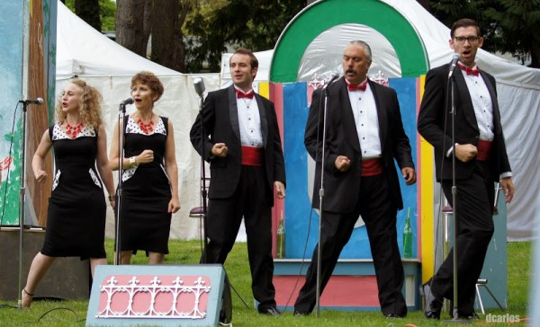 "The Quintet singing 1950's hits like ""Duke of Earl,"" and ""Dedicated to the One I Love"" during Wooden O's production of ""The Two Gentlemen of Verona"" at City Park Sunday."