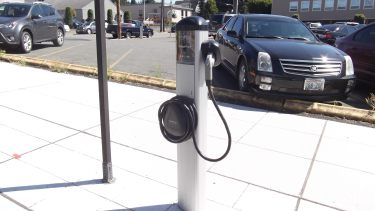 One of the city's six electric vehicle charging stations.