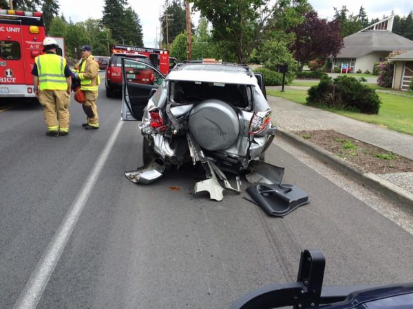 The vehicle that was rear-ended.