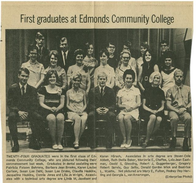 An Enterprise newspaper clipping announcing the college's graduating class of 24 in 1969.