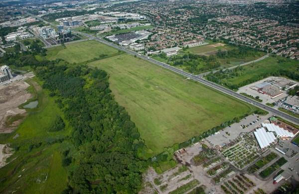 Uptown Markham - Current ariel view of vacant land at Highway 7 and Warden