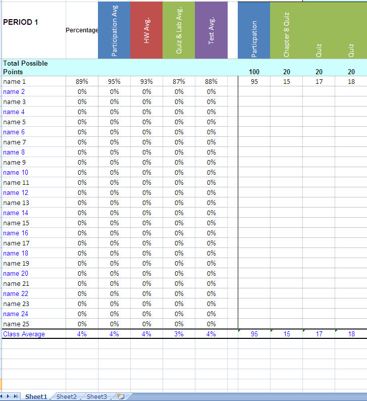 Teacher Grade Book Excel Template Teacher Gradebook - Gradebook Template