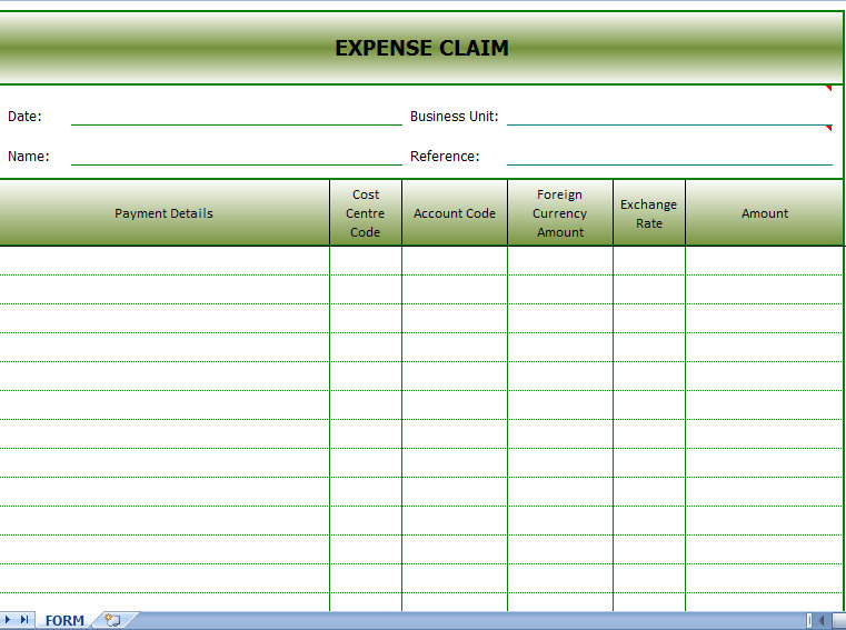 expenses claim form template
