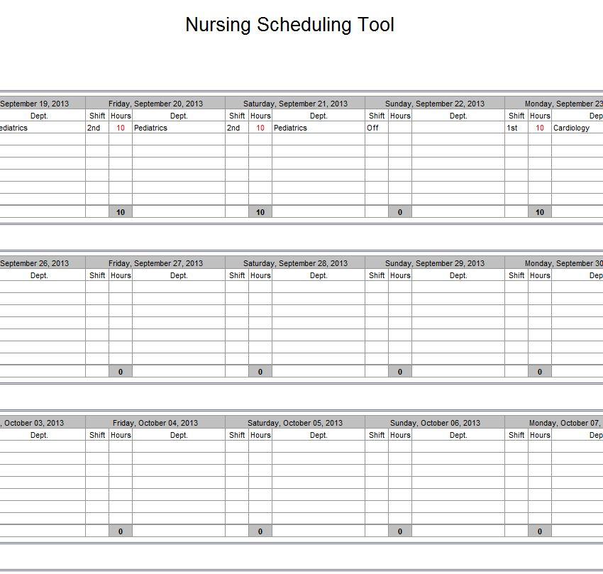 Hospital Nurse Schedule Excel Template Nurse Schedule Template - nursing templates