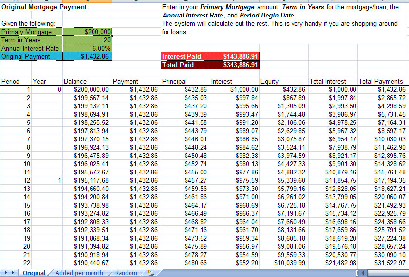 Mortgage Acceleration Calculator Excel Template - mortgage payment calculator template
