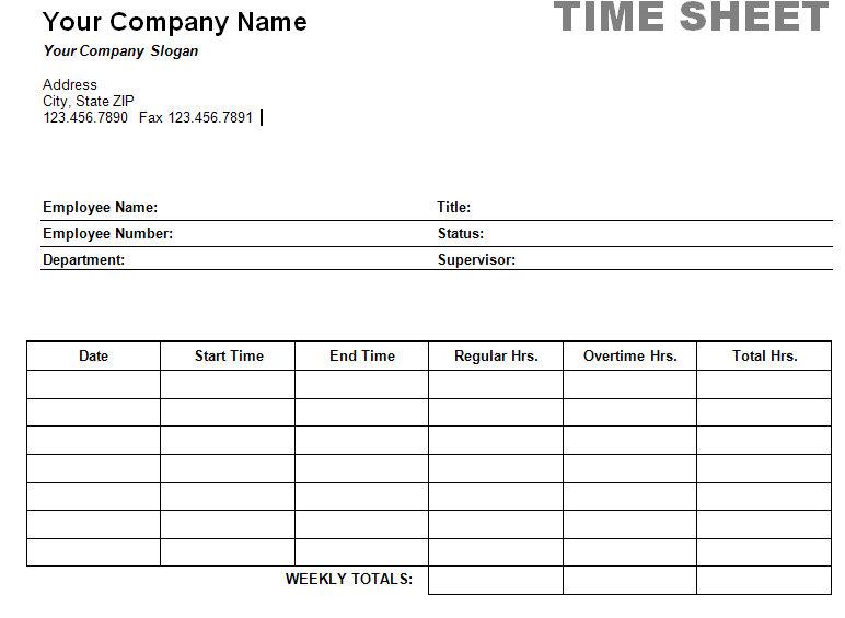 free printable time sheets forms - Ozilalmanoof - printable time card template