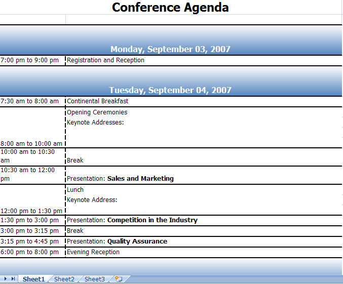 Workshop Agenda Samples - meeting planning template