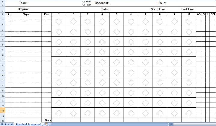 Baseball Score Sheet Excel Template Baseball Score Sheets