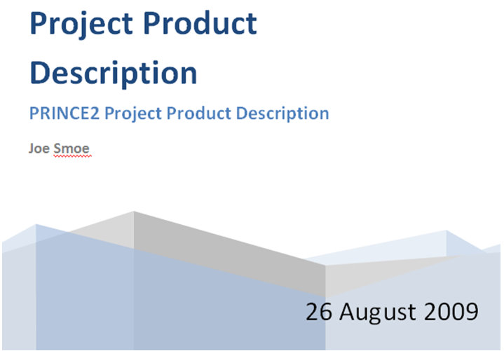 Prince2 Project Product Description Project Product Description