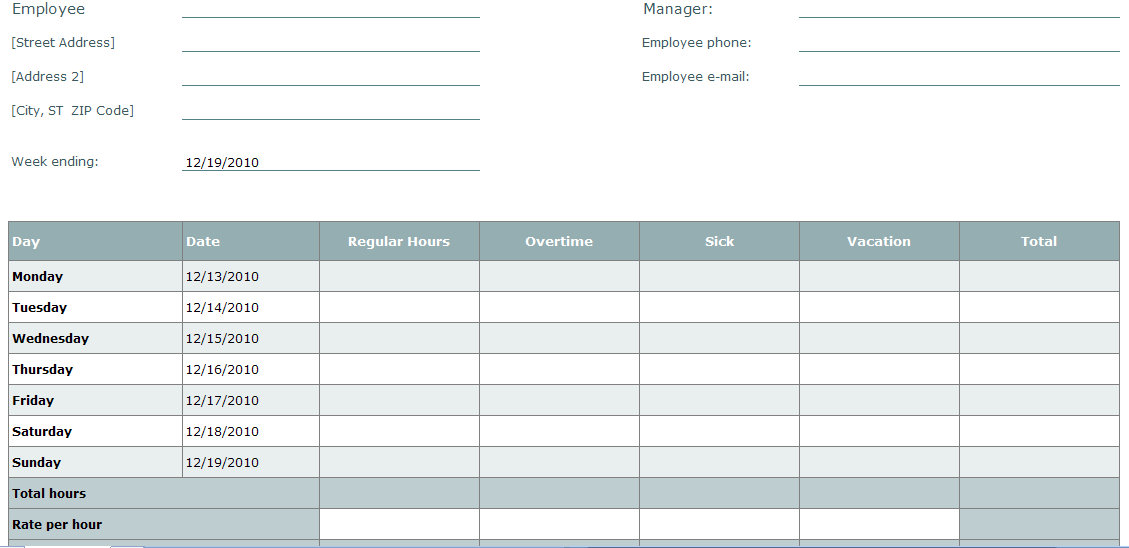 Blank Time Sheet Form Employee Timesheet - free blank time sheets