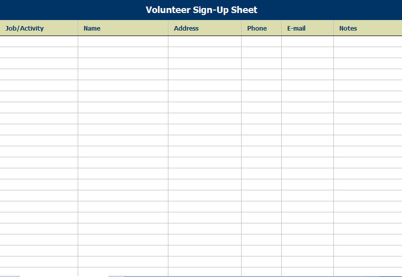 Volunteer Attendance Sign In Sheet Attendance Sign In Sheet