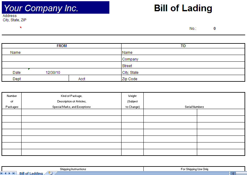free bill of lading template excel