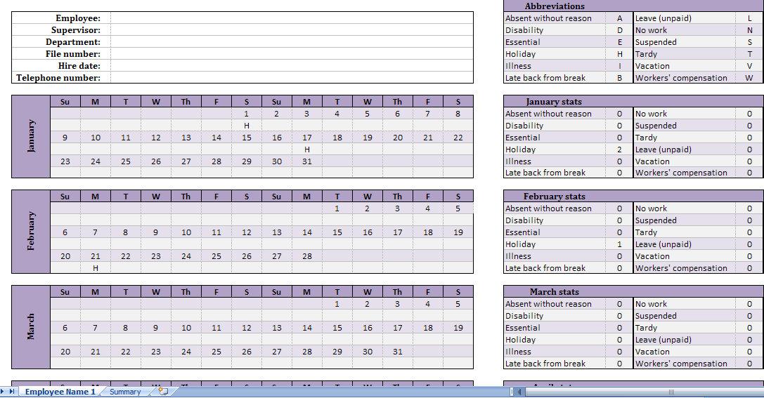 attendance tracking calendar - Hacisaecsa