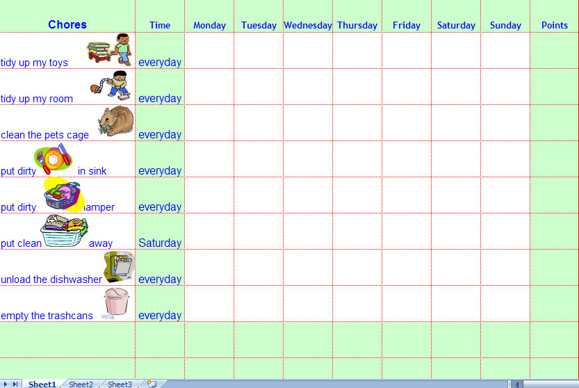 Chore Charts for Kids Printable Chore Charts