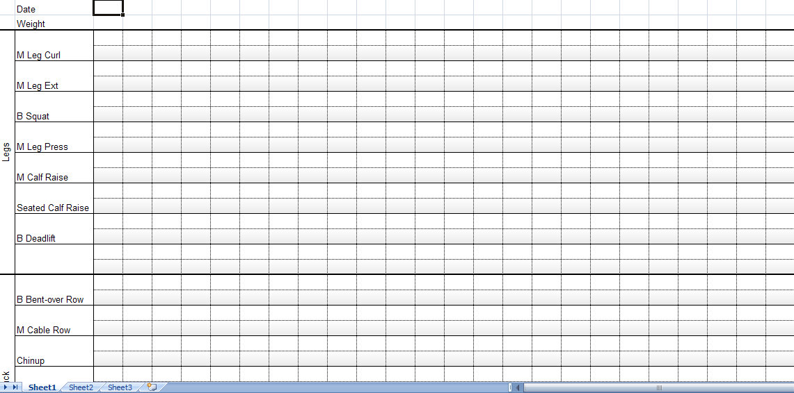Workout Chart Template - exercise log template
