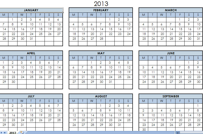 2013 Printable One Page Calendar Yearly Excel Template 2012 - annual calendar template