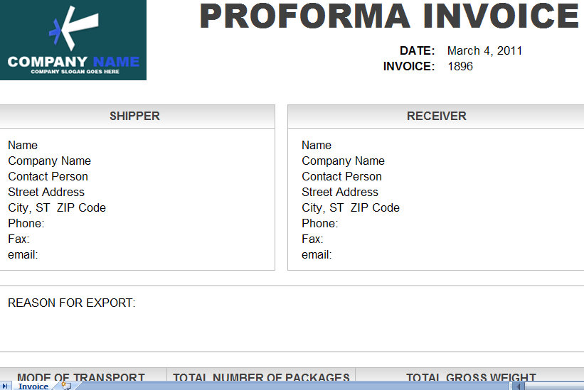 Pro Forma Invoice Proforma Invoice Proforma Sample