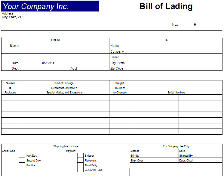 Excel Bill Of Lading Template Bill of Lading Document - bill of lading template excel