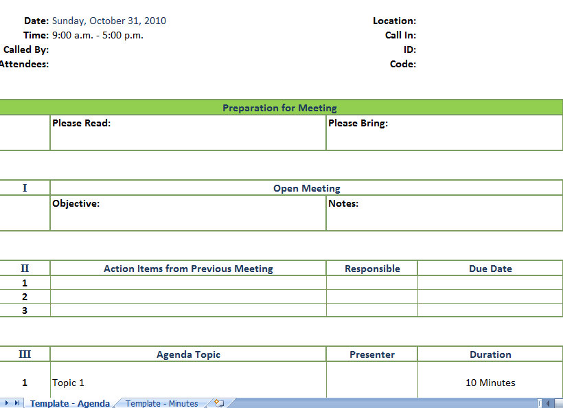 Sample Meeting Agenda Template Business Meeting Agenda - sample conference schedule template