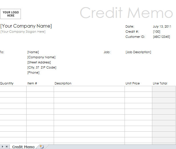 Credit Note Sample Template - Fiveoutsiders