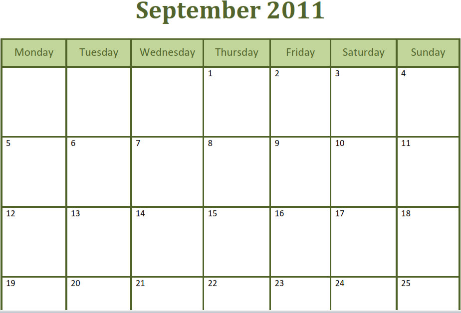 Printable Blank PDF September 2011 Monthly Calendar Printable