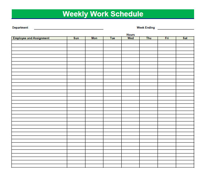 Printable Blank PDF Weekly Schedules Blank PDF Weekly Schedule
