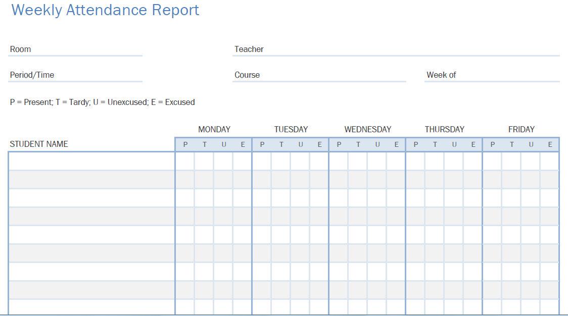 Printable PDF Student Attendance Calendars - attendance calendar templates