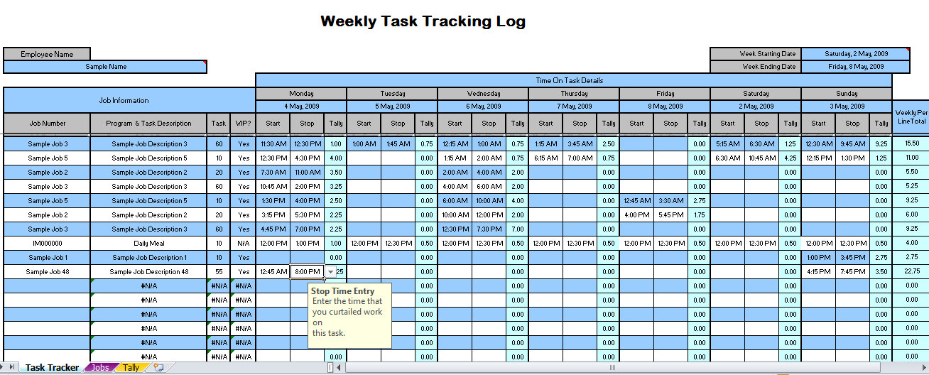 excel time tracking sheet template