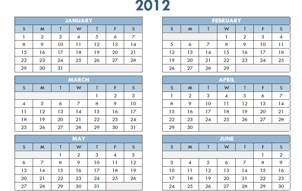 2012 Printable One Page Excel Yearly Calendar Template
