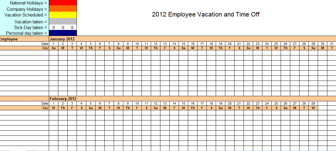 vacation schedule calendar template