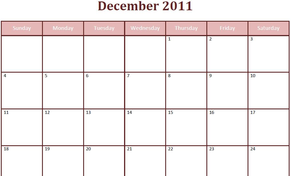 Printable Blank PDF December 2011 Monthly Calendar Printable