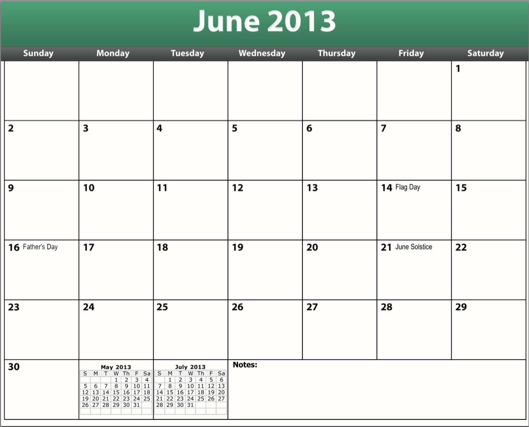 2013 To Print Calendar Template 2016 Printable Pdf June 2013 Calendar ...