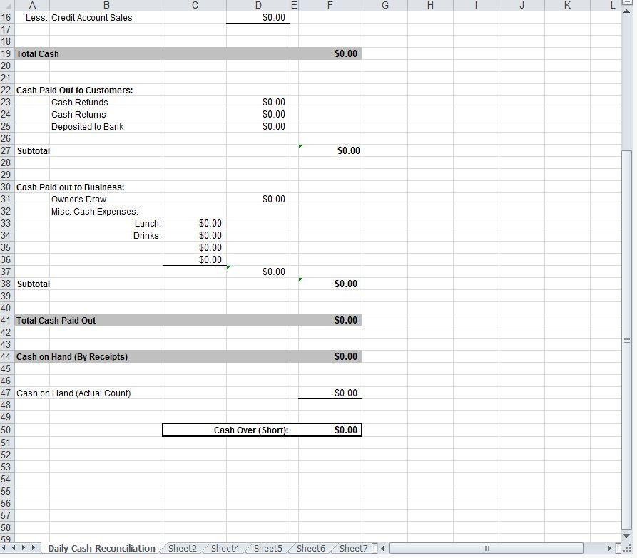 Daily Cash Sheet Daily Cash Sheet Template